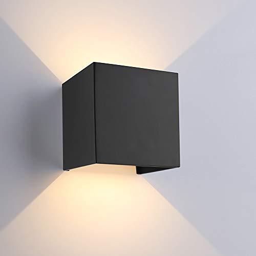 ETiME 12W LED Wandleuchte Außen Wandlampe Wasserdicht Mit Einstellbar Abstrahlwinkel IP65 LED Wandbeleuchtung Innen & Außen Warmweiß (Schwarz 12W)