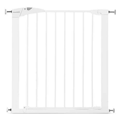 Munchkin Maxi-Secure Tür-/Treppenschutzgitter mit Druckbefestigung, 76 - 82 cm, maximum 117 cm mit Verlängerung, weiß