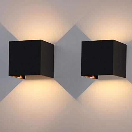Klighten 2-Pack 7W Außenwandleuchte Effect Lamp,IP65 Wandlampe Lamp Met LED Adjustable Wandbeleuchtung Innen/Außen Warmweiß (Schwarz)