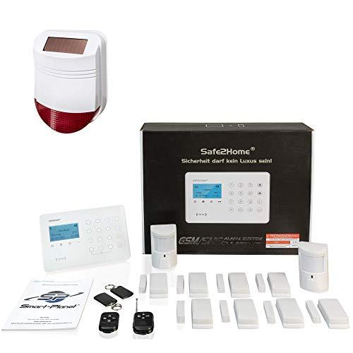 Safe2Home® Funk Alarmanlage Großes Set SP210 mit Sabotageschutz u Lichtsteuerung - deutsch - GSM...