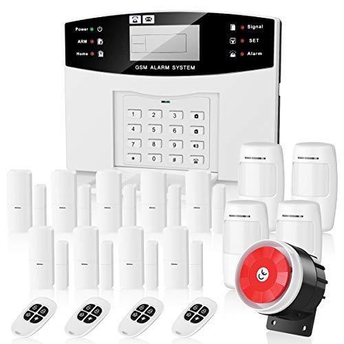 Thustar Alarmanlage GSM mit Funk Alarmsystem Home Security, SMS und Anruf, deutsche Menü + deutsche Anleitung, um die Sicherheit des Zuhauses, Büros, oder Geschäftes, technischer Support