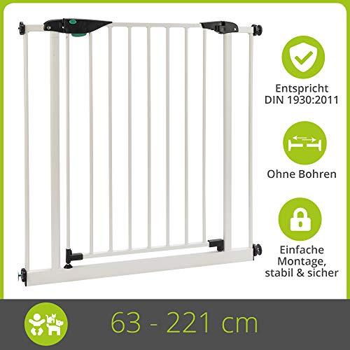 BOMI Kindertreppen Gitter 63-221 | Ohne Bohren | 90° Stop | Schließt automatisch | Baby Gitter weiss mit Automatik-Tür | Kindertreppenschutzgitter Tür und Treppenschutzgitter zum Klemmen