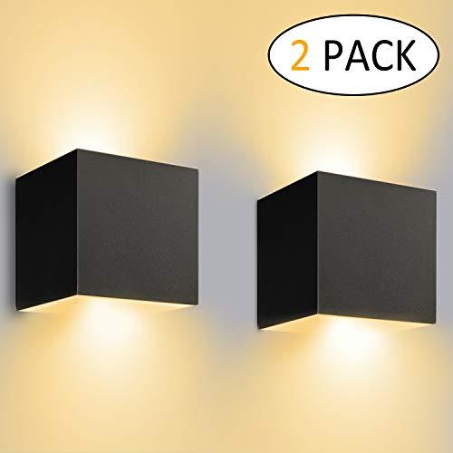 12W LED Wandleuchte Innen/Außen 2 Stücke Außenwandleuchte 3000K Warmweiß Wandbeleuchtung LED mit...