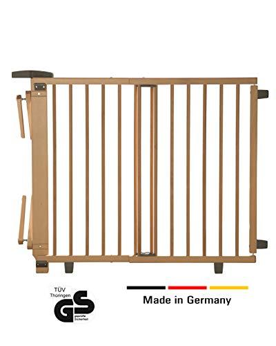 Geuther - Schwenk- Treppenschutzgitter 2733, für Kinder, Hunde und Katzen, Made in Germany, Befestigung mit Schrauben/Klemmen am Geländer, verstellbar, Holz, natur, 67 - 107 cm, TÜV geprüft