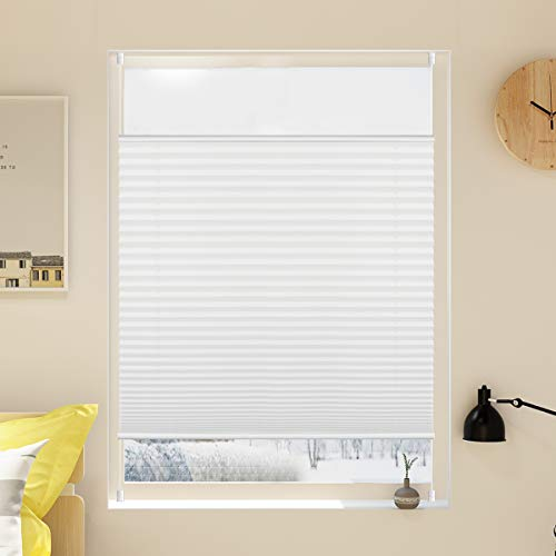 Grandekor Plissee Klemmfix Jalousie ohne Bohren 40x100cm (BxH) Weiß Verspannt Easyfix Klemmrollo Faltrollo Blickdicht Sichtschutz für Fenster und Tür