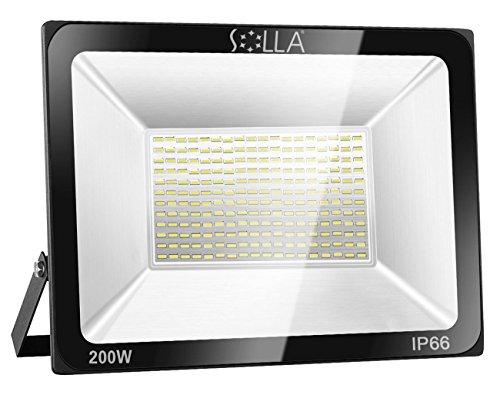 SOLLA 200W LED Flutlicht Outdoor-Sicherheitsleuchte, 1060W Äquiv, 6000K Tageslichtweiß, 16000LM, Wasserdicht IP66, Außenwandleuchte, 24 Monate Garantie