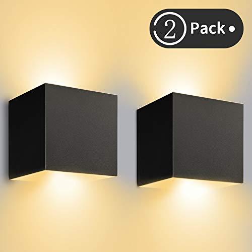 12W LED Wandleuchte Innen/Außen 2 Stücke Außenwandleuchte 3000K Warmweiß Wandlampe LED mit...