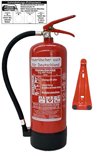 Feuerlöscher 6kg ABC Pulverlöscher mit Manometer EN 3 , Prüfnachweis mit Jahresmarke ,...