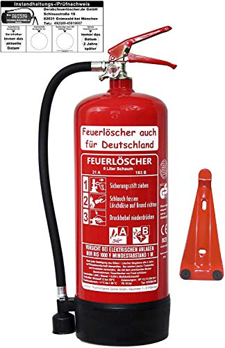 6 L Schaum Feuerlöscher Brandklasse AB DIN EN 3 + GS , Prüfnachweis mit Jahresmarke, Manometer,...