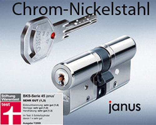 BKS Profilzylinder Janus 46 Chrom -Nickelstahl ink. Sicherungskarte / mit 4 Schlüsseln Maße A 35 /...