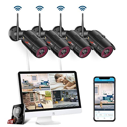 【All-In-One】 WLAN Überwachungskamera Set System, Home Security Camera System mit 15.6 Zoll LCD-Monitor, 4Stk. Drahtlos Außen 1080P HD IP-Kamera,Einfacher Fernzugriff, 1TB Festplatte SWINWAY