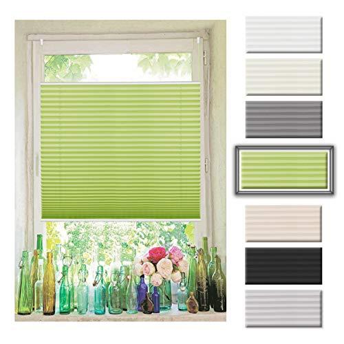 Atlaz Easyfix Plissee Rollo Raffrollo ohne Bohren Klemmfix für Fenster 75x130cm (BxH) Grün Plisseerollo Jalousie Fensterrollo mitKlemmträger für Fenster und Tür