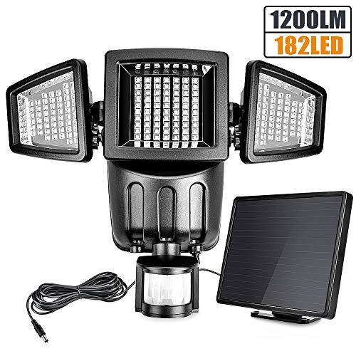 Solarleuchten Außen - Außenleuchte Sicherheitsleuchte Bewegungsmelder Flutlicht, 1200 Lumen Solarlampe, 5 Meter Kabel Hauseingang, 182 LED Solarlicht, 3-fach Leuchte Solarleuchte, Wasserdicht IP65
