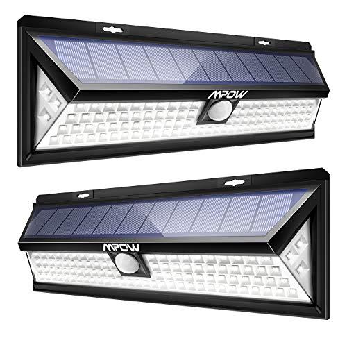 Mpow 102 LED Bewegungssensor Solarlicht, Helle Wandleuchte Solarleuchten, 3 Modi Sonnenkollektor 120 ° Erfassungswinkel, Wetterfest Außenbeleuchtung für Garten, Auffahrt, Hof, Garage, Terrasse