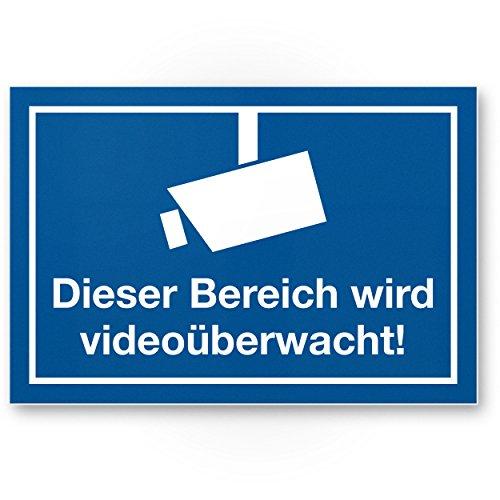 Bereich wird videoüberwacht Kunststoff Schild (blau), Hinweisschild Innen/Außen, Warnhinweis...